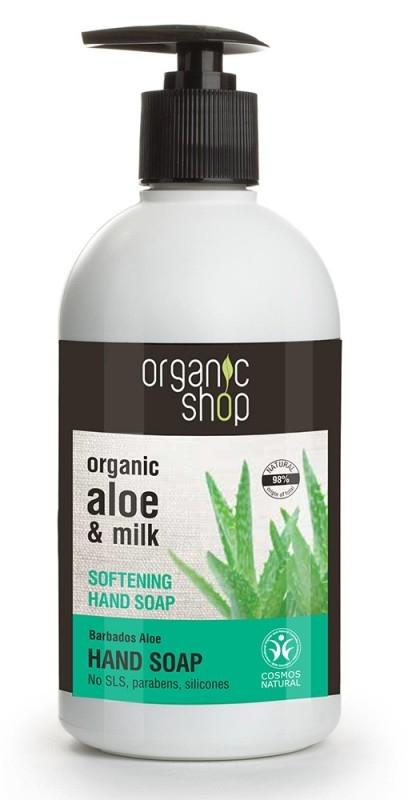 Sapun lichid hidratant cu aloe si lapte Barbados Aloe, 500 ml - Organic Shop