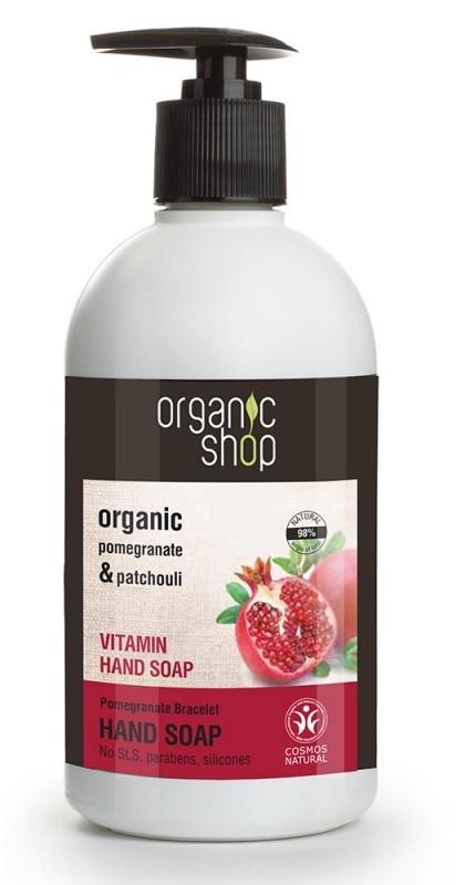Sapun lichid vitaminizant cu rodie si patchouli Pomegranate Bracelet, 500 ml - Organic Shop