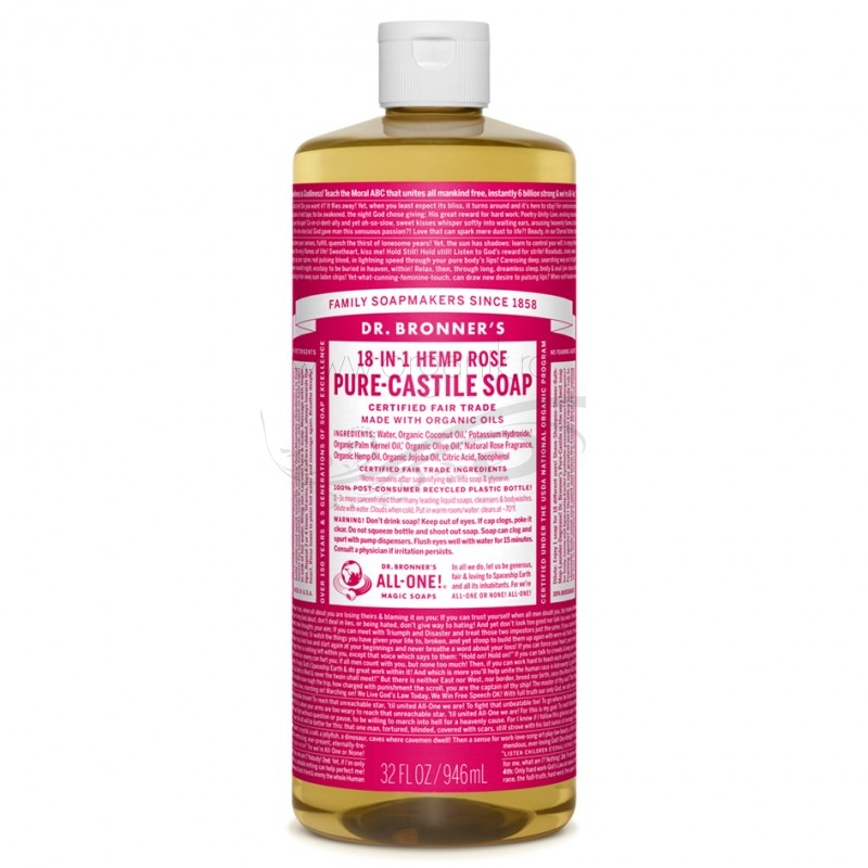 Sapun magic 18-in-1 Trandafir, 946 ml - DR. BRONNER