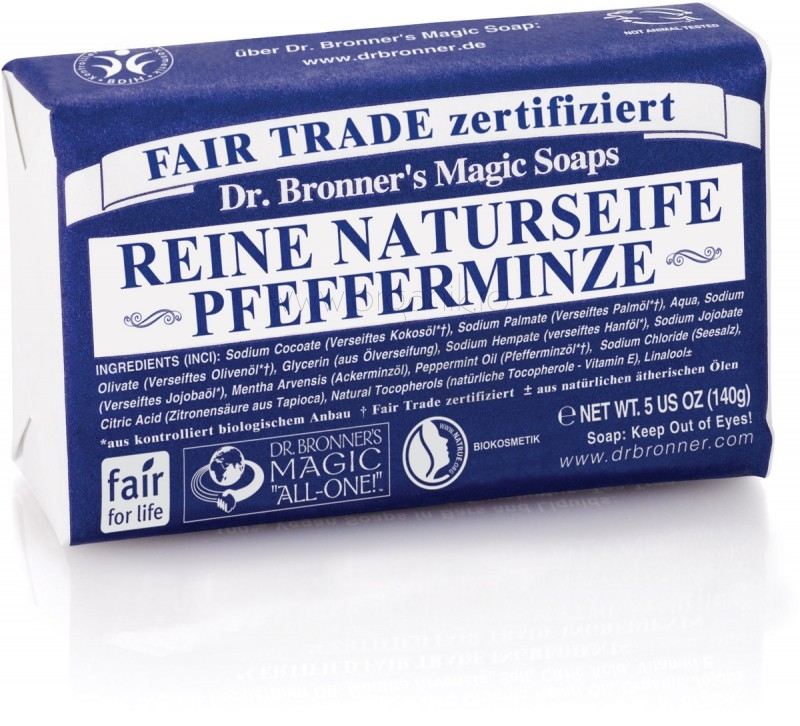 Sapun organic de Castilia, aroma Menta 140g - DR. BRONNER