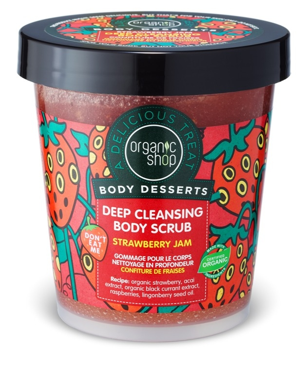Scrub de corp delicios Strawberry Jam, 450 ml - Organic Shop Body Desserts