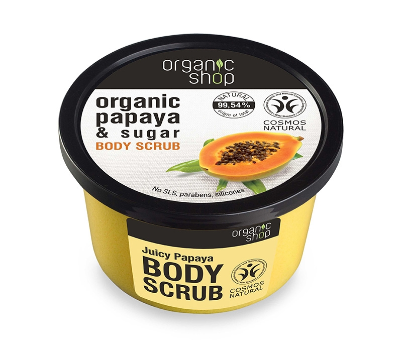 Scrub de corp delicios cu zahar si papaya Juicy Papaya, 250 ml - Organic Shop
