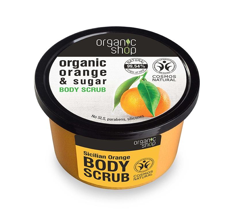 Scrub de corp delicios cu zahar si portocala Sicilian Orange, 250 ml - Organic Shop