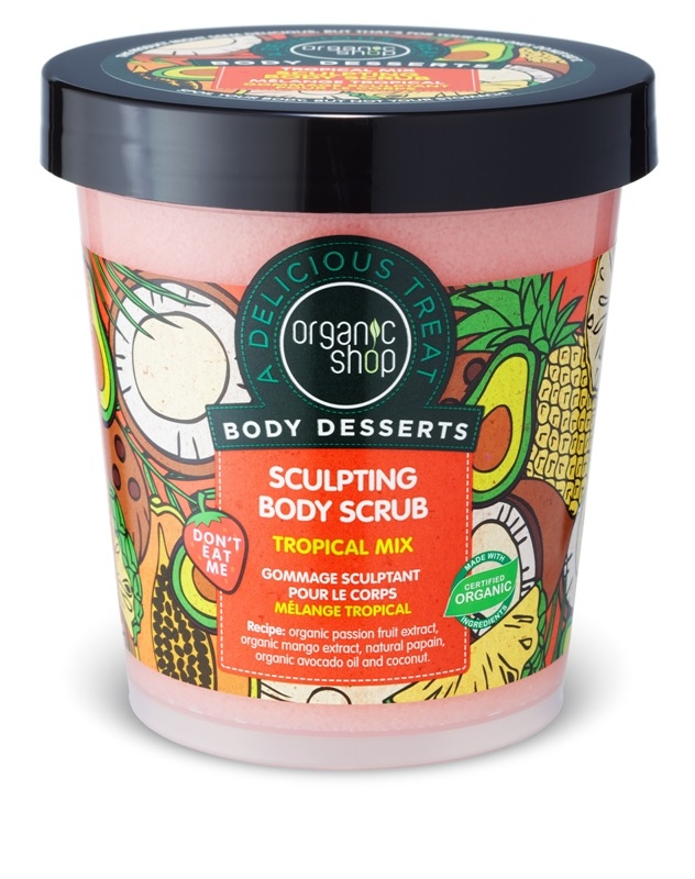 Scrub de corp delicios pentru remodelare Tropical Mix, 450 ml - Organic Shop Body Desserts