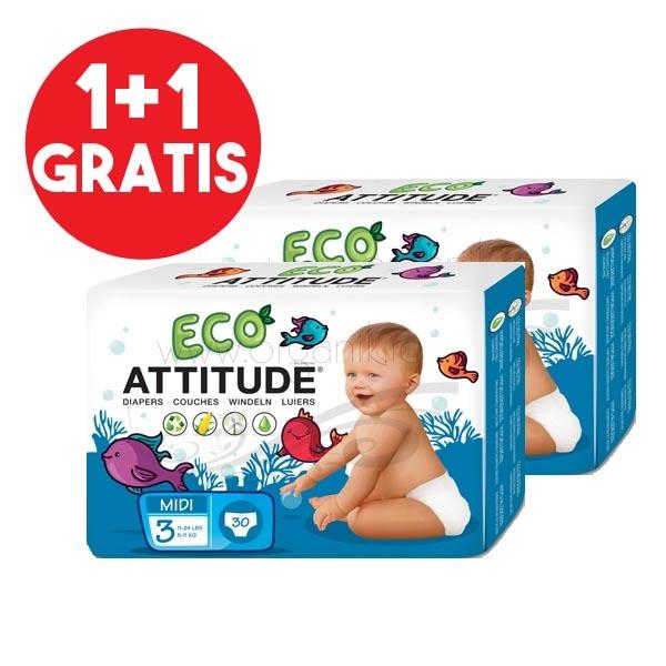 Scutece ecologice marime 3 (5-11kg), PACHET 1+1 GRATUIT - ATTITUDE
