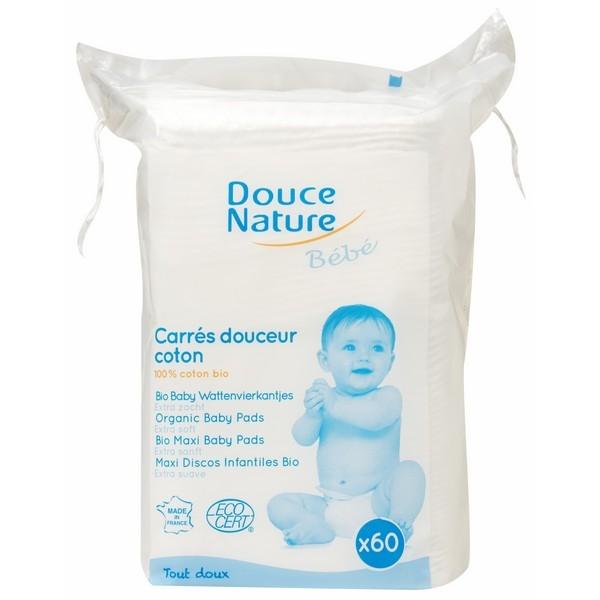 Servetele uscate din bumbac bio, pentru bebelusi, 60 buc - Douce Nature