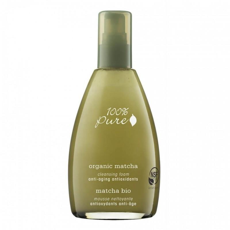 Spuma demachianta antiage cu ceai verde Organic Matcha, 177 ml - 100 Percent Pure Cosmetics