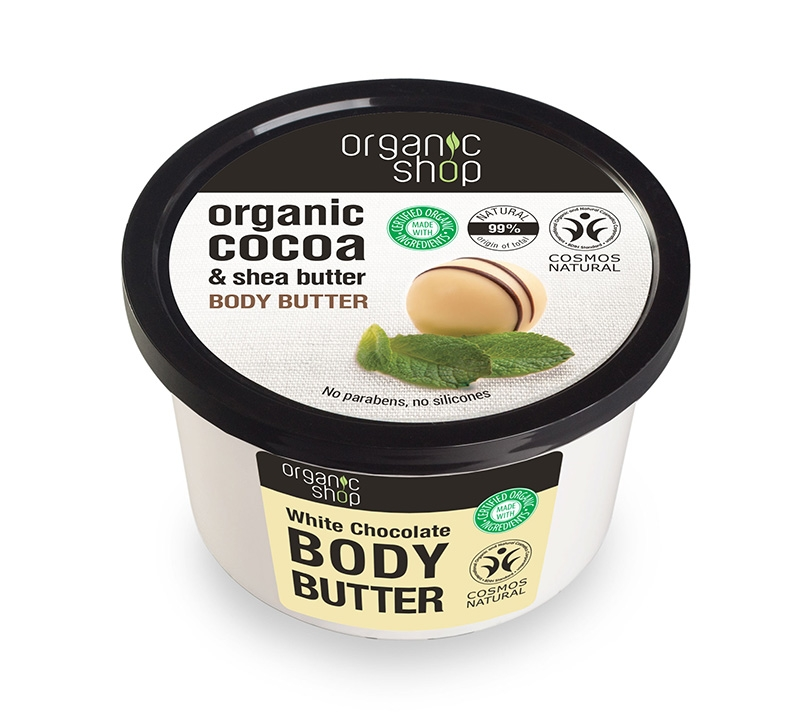 Unt de corp delicios cu ciocolata alba White Chocolate, 250 ml - Organic Shop