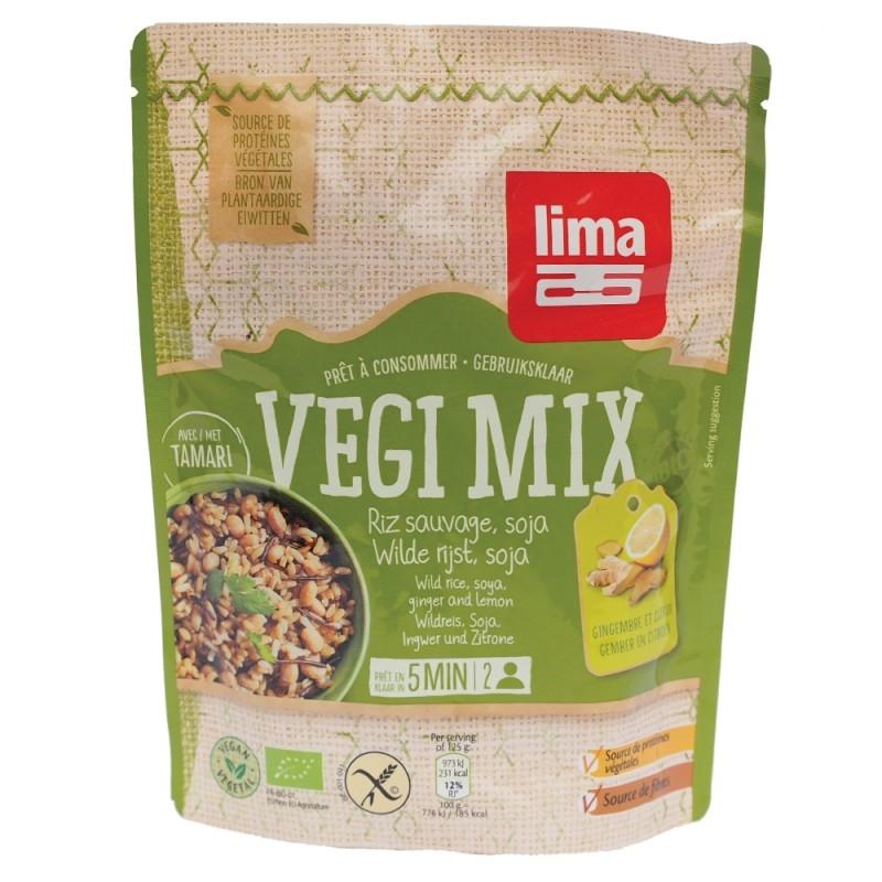 Vegi mix fara gluten cu ghimbir, orez salbatic si soia bio, 250g - Lima