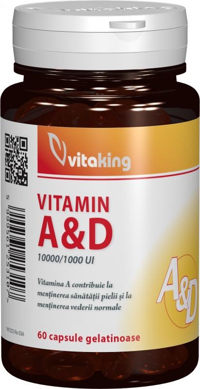 Vitamina A & D (10.000/1.000 UI), 60 cps gelatinoase - Vitaking