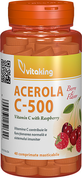 Vitamina C 500mg cu zmeura, 40 comprimate masticabile - Vitaking