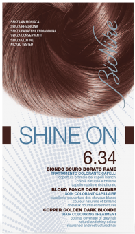 Vopsea de par tratament Shine On, Copper Golden Dark Blonde 6.34 - Bionike