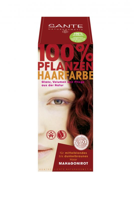 Vopsea pentru par din plante Rosu Mahon, 100g - SANTE NATURKOSMETIK