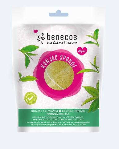 Burete Konjac cu ceai verde pentru ten mixt sau uscat - Benecos