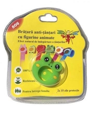Bratara anti-tantari din silicon cu 2 rezerve, pentru copii - Broscuta