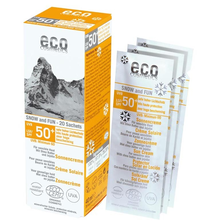 Crema protectie solara inalta FPS50 pentru ski, SNOW & FUN, 20 plicuri - Eco Cosmetics