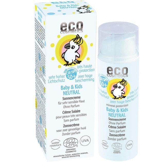Crema bio protectie solara bebe si copii FPS50+, piele foarte sensibila, FARA PARFUM - Eco Cosmetics