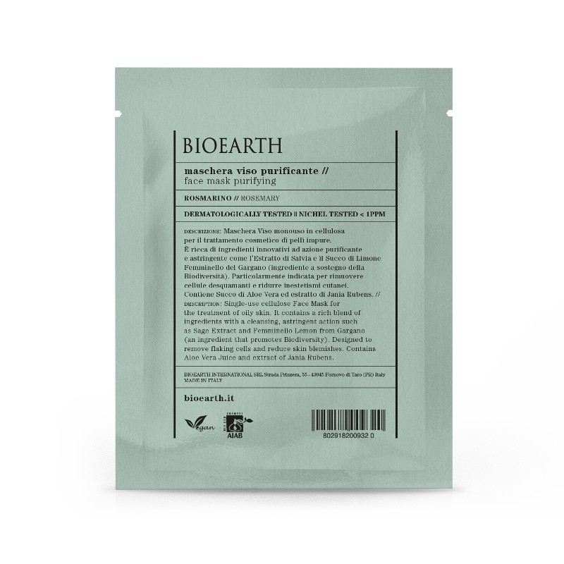 Masca din celuloza cu rozmarin, efect purificator - Bioearth