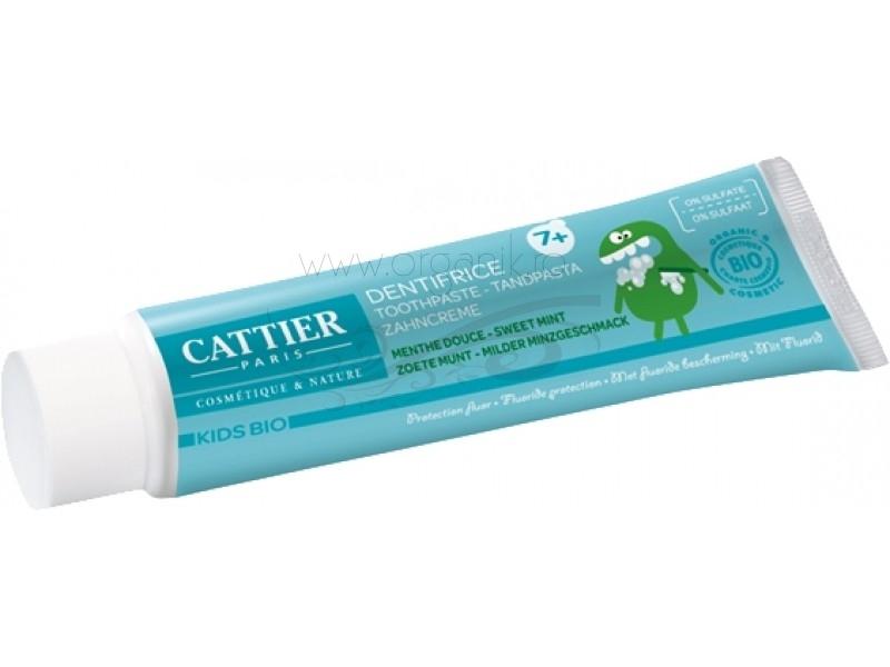 Pasta de dinti bio cu fluor, pentru copii 7+ ani - CATTIER