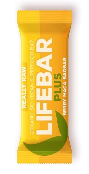 Baton Plus cu fructe, maca si baobab raw bio, 47g - Lifebar