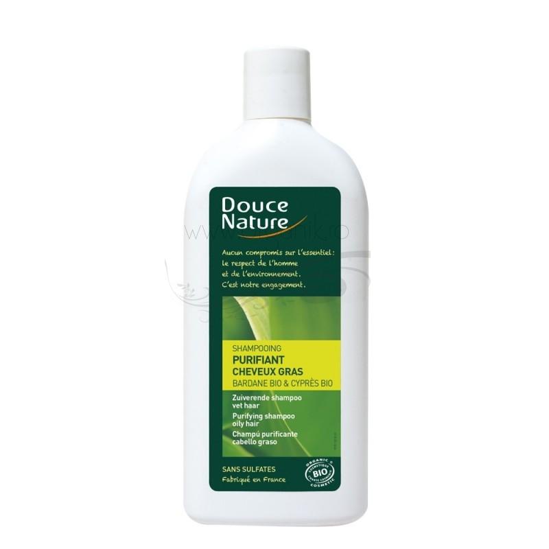 Sampon purificator pentru par gras cu brusture si chiparos, 300 ml - Douce Nature