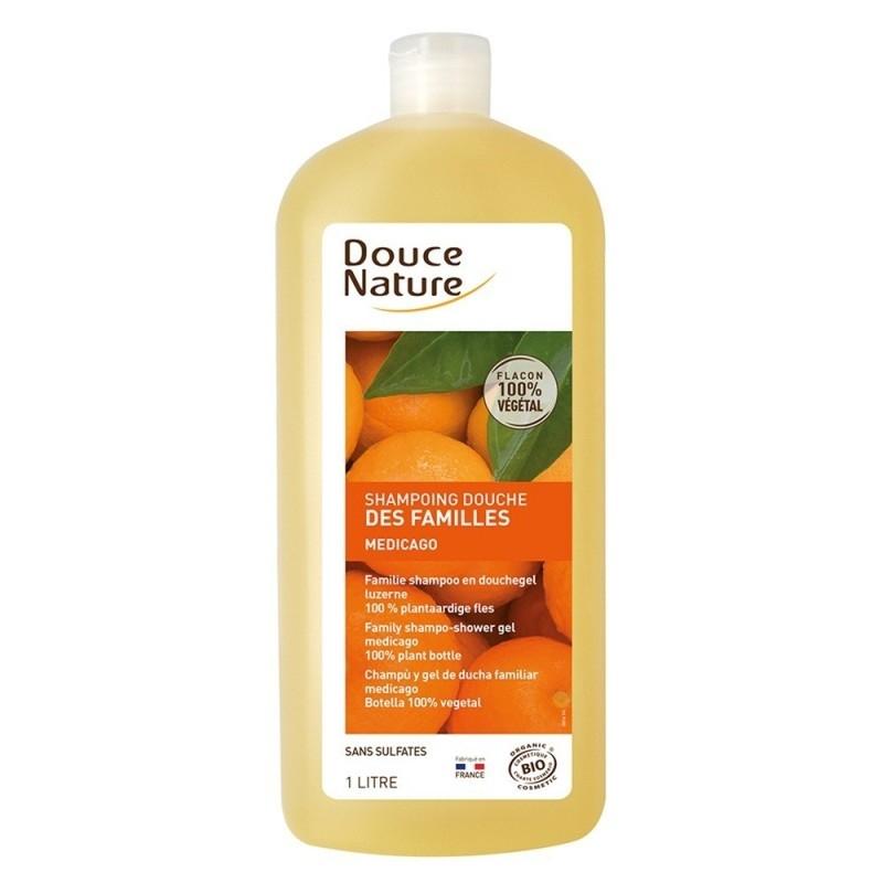 Sampon si gel de dus cu extract de lucerna, aroma citrice, format familial 1L - Douce Nature