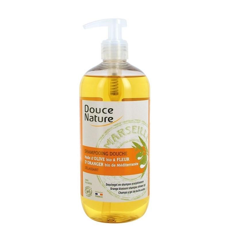Sampon si gel de dus cu sapun de Marsilia si flori de portocal, 500ml - Douce Nature