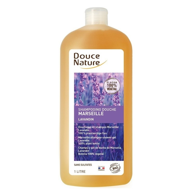 Sampon si gel de dus cu sapun de Marsilia si lavanda, format familial, 1L - Douce Nature
