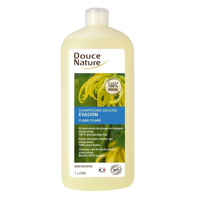 Sampon si gel de dus exotic cu ylang-ylang, format familial 1L - Douce Nature