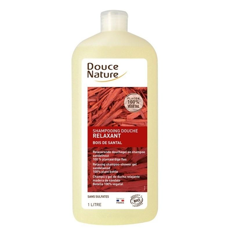 Sampon si gel de dus relaxant cu santal, format familial 1L - Douce Nature