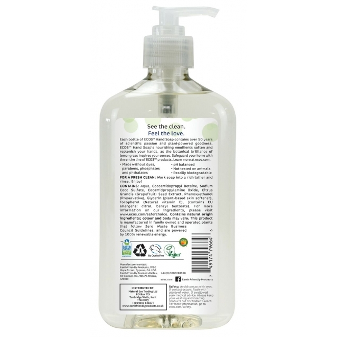 Sapun lichid hidratant Lemongrass, 500ml - Earth Friendly Products