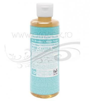 Sapun magic 18-in-1 Fara Parfum, pentru bebelusi si piele sensibila, 236 ml - DR. BRONNER