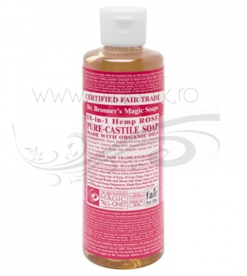 Sapun magic 18-in-1 Trandafir, 236 ml - DR. BRONNER