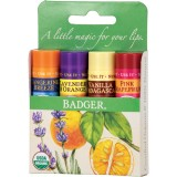 Set 4 balsamuri clasice de buze, Green Kit - Badger