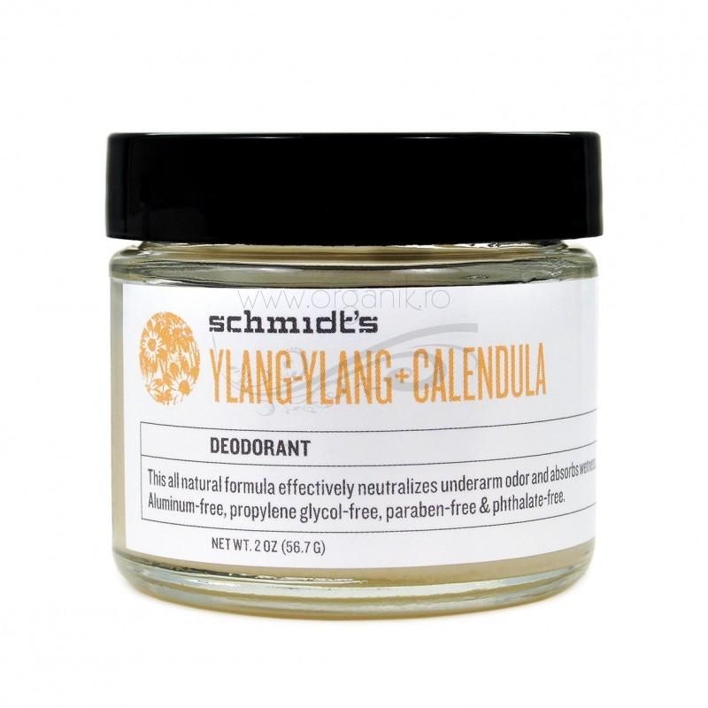 Deodorant natural cu bicarbonat Ylang Ylang & Calendula, borcanel - Schmidts's Deodorant